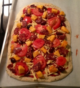 pumpkin, kalamata olives, fresh tomato, homemade chilli salami, locally produced cheddar and tomato paste